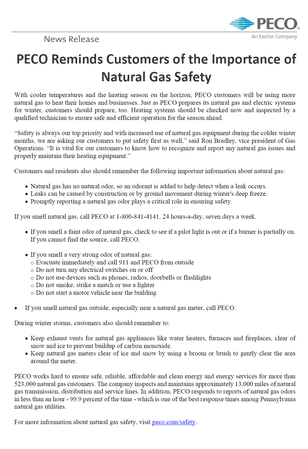 PECO Safety Reminder