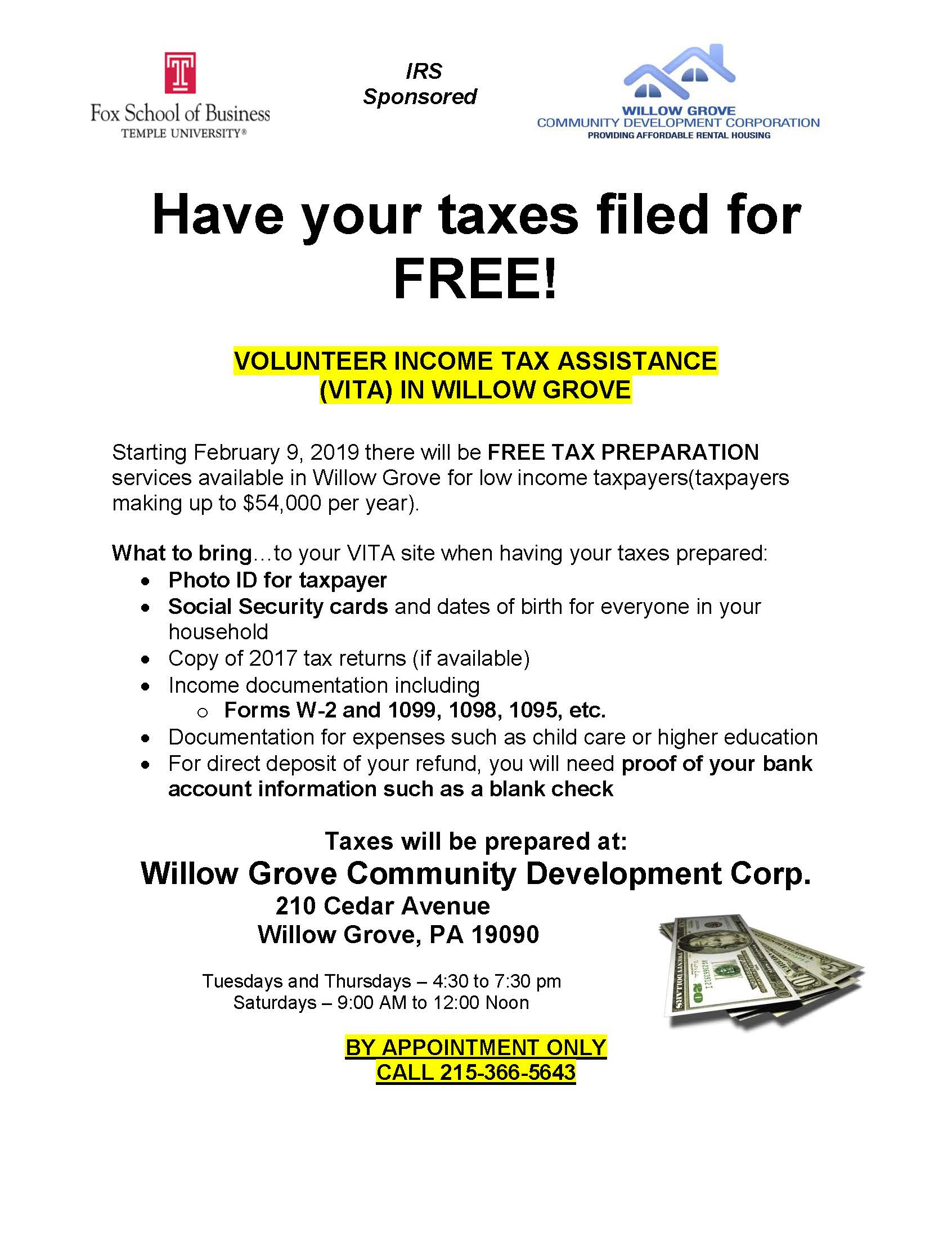 2019 VITA flier - Taxes done for free