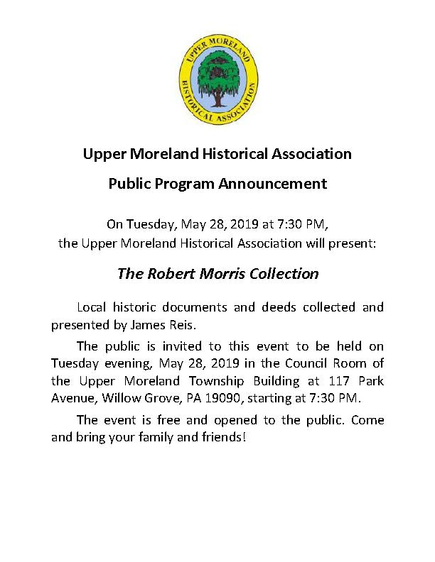 2019 UMHA Public Poster The Robert Morris Collection