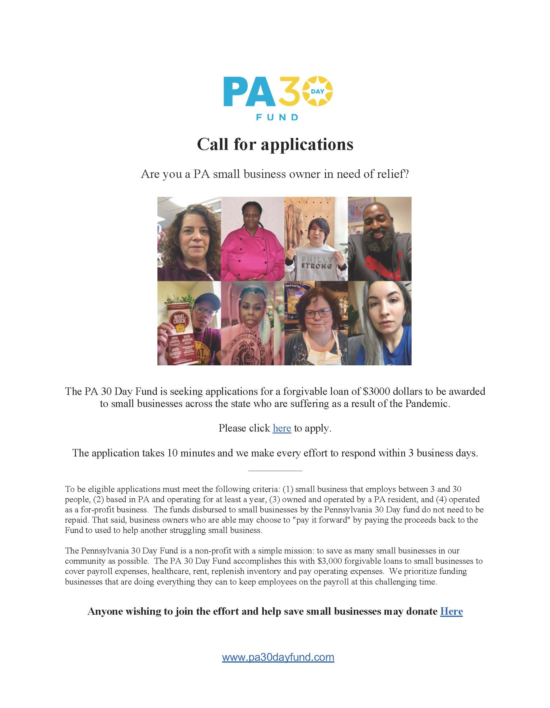 2020 Pennsylvania 30 Day Fund One-Pager (5.29.20)